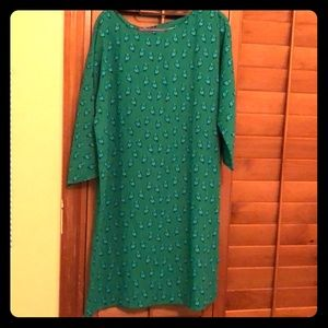 Green dress with parrot print